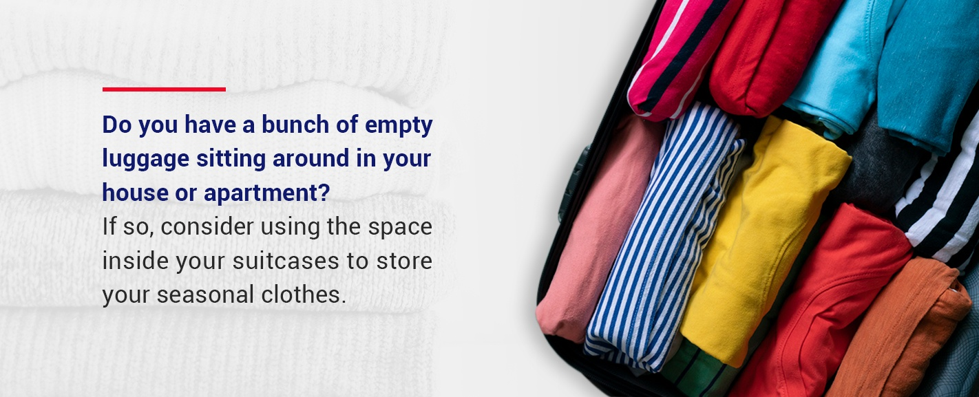 store clothes in luggage that you are not using